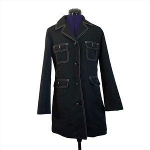 J Crew Black Long Button Up Coat